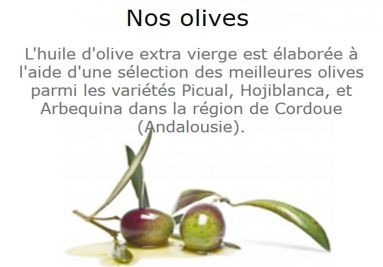 Huile d'Olive Extra Vierge - Nos olives